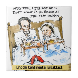 Abraham Lincoln & Mary Todd Breakfast In Bed Ceramic Tile
