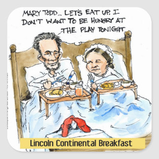 Abraham Lincoln & Mary Todd Breakfast In Bed Square Sticker