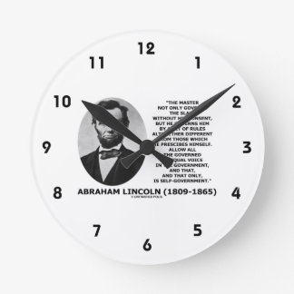 Abraham Lincoln Master Slave Self-Government Round Clock