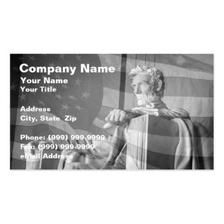 Abraham Lincoln Memorial and United States Flag Business Cards