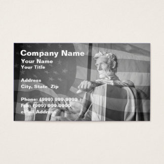 Abraham Lincoln Memorial and United States Flag Business Card