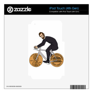 Abraham Lincoln On A Bike With Penny Wheels Bottle iPod Touch 4G Decals