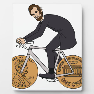 Abraham Lincoln On A Bike With Penny Wheels Bottle Plaque