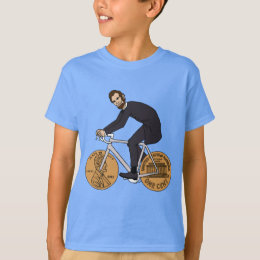 Abraham Lincoln On A Bike With Penny Wheels Bottle T-Shirt