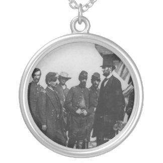 Abraham Lincoln on Battlefield at Antietam Round Pendant Necklace