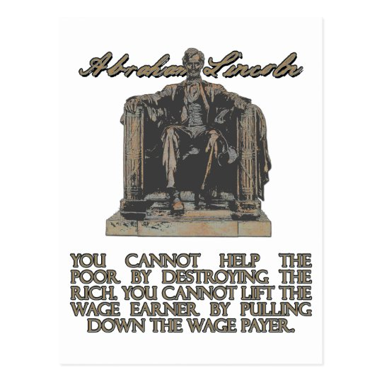 Abraham Lincoln on Destroying the Rich Postcard