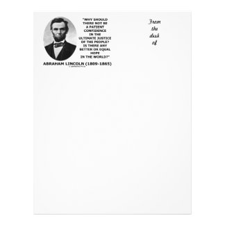 Abraham Lincoln Patient Confidence Justice Quote Letterhead