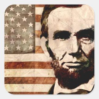 Abraham Lincoln Pegatina Cuadrada