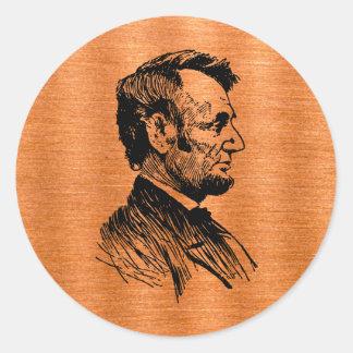 Abraham Lincoln Pegatina Redonda