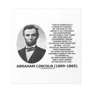 Abraham Lincoln People's Contest Union Race Life Notepad