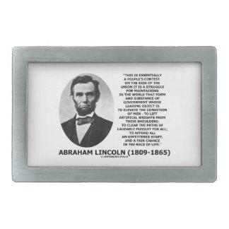 Abraham Lincoln People's Contest Union Race Life Rectangular Belt Buckle