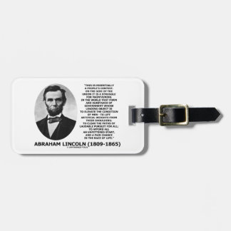 Abraham Lincoln People's Contest Union Race Life Tag For Luggage