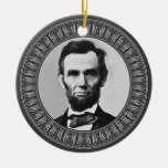 Abraham Lincoln Portrait and Quote - Double-sided Double-Sided Ceramic Round Christmas Ornament