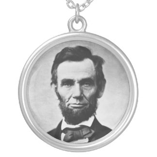 Abraham Lincoln Portrait by Alexander Gardner Silver Plated Necklace