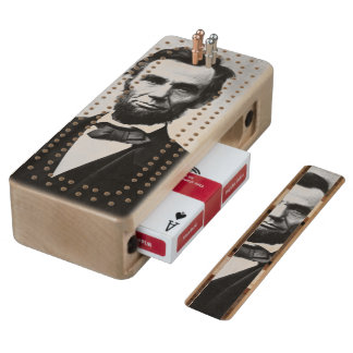Abraham Lincoln Portrait Wood Cribbage Board
