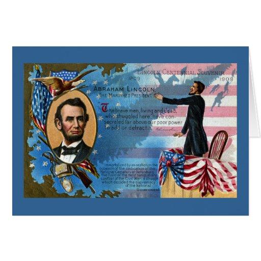 Abraham Lincoln que da la dirección de Gettysburg Felicitación