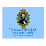 Abraham Lincoln Quote A House Divided Post Card