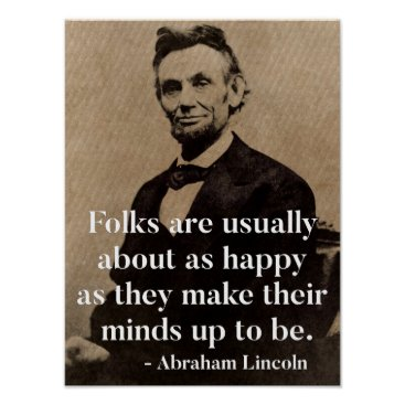 wordstolivebydesign Abraham Lincoln Quote on Happiness Poster