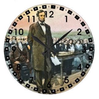 Abraham Lincoln Recites the Gettysburg Address Large Clock
