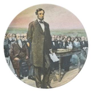 Abraham Lincoln Recites the Gettysburg Address Plate