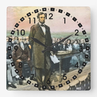 Abraham Lincoln Recites the Gettysburg Address Square Wall Clock