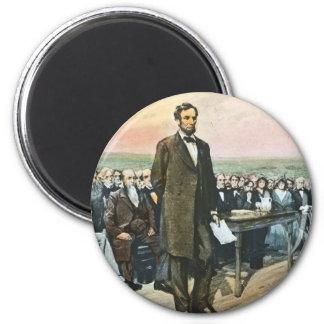 Abraham Lincoln Recites the Gettysburg Address Vin 2 Inch Round Magnet