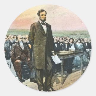 Abraham Lincoln Recites the Gettysburg Address Vin Classic Round Sticker