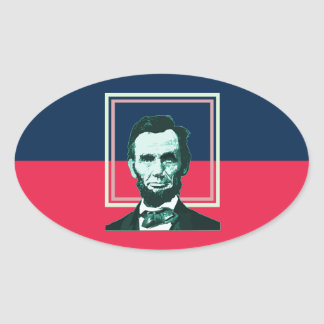 Abraham Lincoln - Retro Oval Sticker