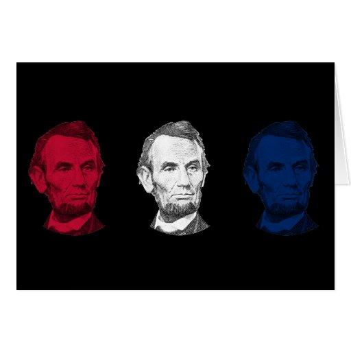 Abraham Lincoln rojo, blanco, y azul Felicitaciones