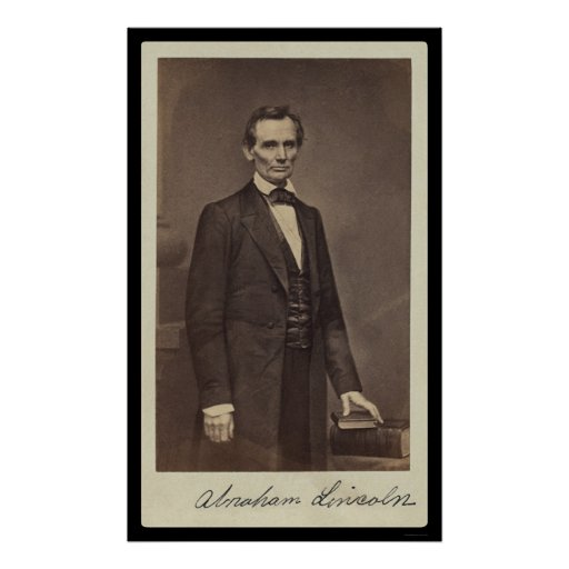 Abraham Lincoln Signed Card 1860 Poster