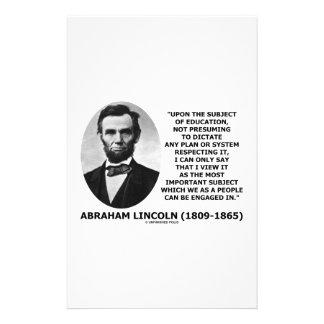 Abraham Lincoln sobre el tema de la educación Papeleria Personalizada