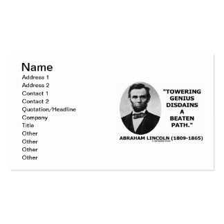 Abraham Lincoln Towering Genius Disdains Beaten Double-Sided Standard Business Cards (Pack Of 100)