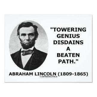 Abraham Lincoln Towering Genius Disdains Beaten Personalized Announcement