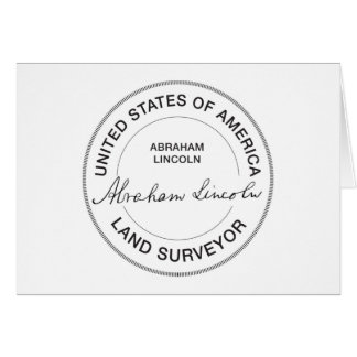 Abraham Lincoln US Land Surveyor Seal Card
