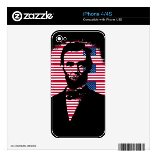 Abraham Lincoln with American Flags Skin For The iPhone 4