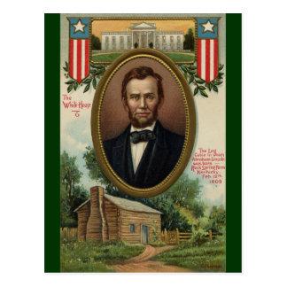 Abraham Lincoln y cabaña de madera en Kentucky Postal
