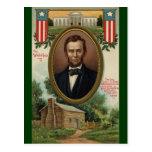 Abraham Lincoln y cabaña de madera en Kentucky Tarjeta Postal