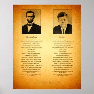 Abraham Lincoln y conspiración de John F. Kennedy Póster