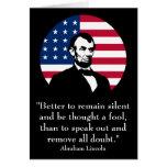 Abraham Lincoln y la bandera americana Felicitacion