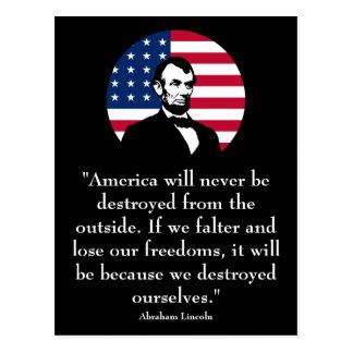 Abraham Lincoln y la bandera americana Postal
