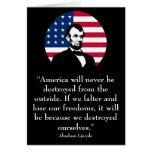 Abraham Lincoln y la bandera americana Tarjetas