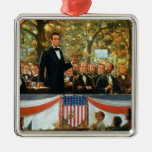 Abraham Lincoln y Stephen A. Douglas Adorno Navideño Cuadrado De Metal