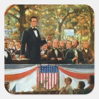 Abraham Lincoln y Stephen A. Douglas Pegatina Cuadrada