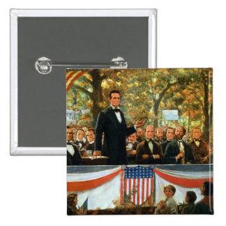 Abraham Lincoln y Stephen A. Douglas Pin Cuadrada 5 Cm