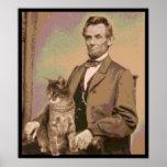 "Abraham Lincoln y su gato ""Dixie "" Impresiones"