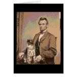 Abraham Lincoln y su gato Dixie Tarjeta De Felicitación