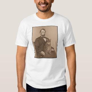 """Abraham Lincoln y su gato """"Gloria"""" 2 Poleras"""