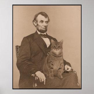 """Abraham Lincoln y su gato """"Gloria"""" 2 Póster"""