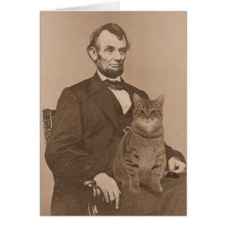 """Abraham Lincoln y su gato """"Gloria"""" 2 Tarjeta De Felicitación"""