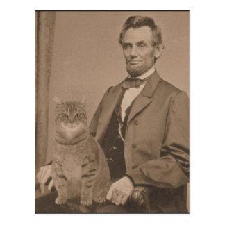 """Abraham Lincoln y su gato """"Gloria """" Postal"""